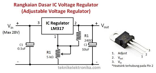 Rangkaian IC Adjustable Voltage Regulator