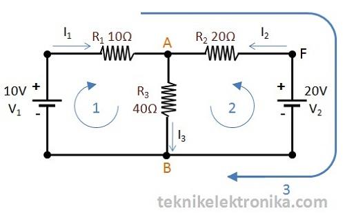 contoh perhitungan Hukum Kirchhoff 1 dan 2