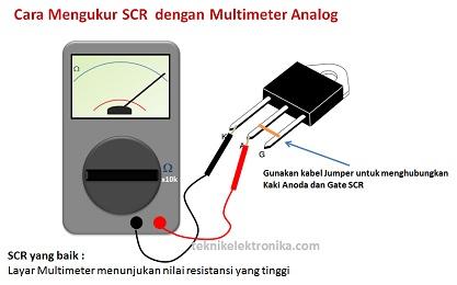 Cara Mengukur SCR dengan Multimeter Analog (Menghubungkan kaki Anoda dan Gate SCR)
