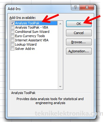 Cara Install Analysis ToolPak - Dialog Box Add-Ins