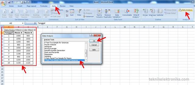 Cara Uji Hipotesis t-test dengan menggunakan microsoft Excel