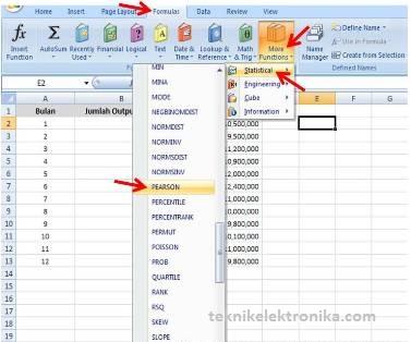 Menghitung Koefisien Korelasi dengan Argumen Pearson di Microsoft Excel